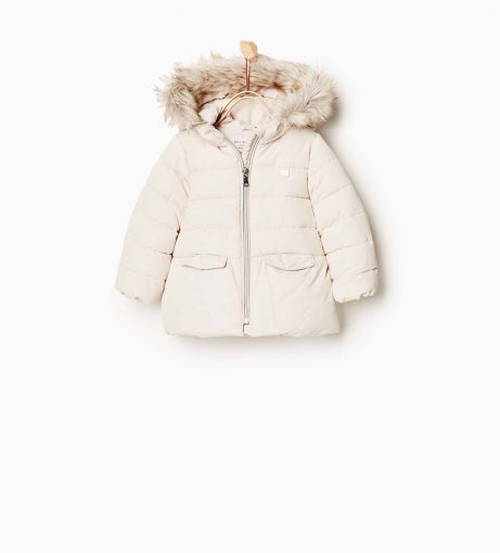 cream padded girls coat with faux fur lined hood