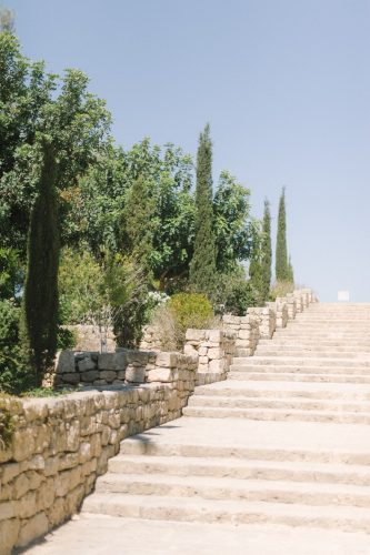 beautiful sandstone steps lined with trees