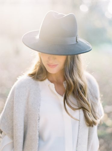 portrait wearing a fedora hat white shirt and grey cardigan