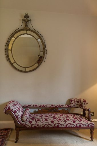 antique furniture and mirror in the hotel