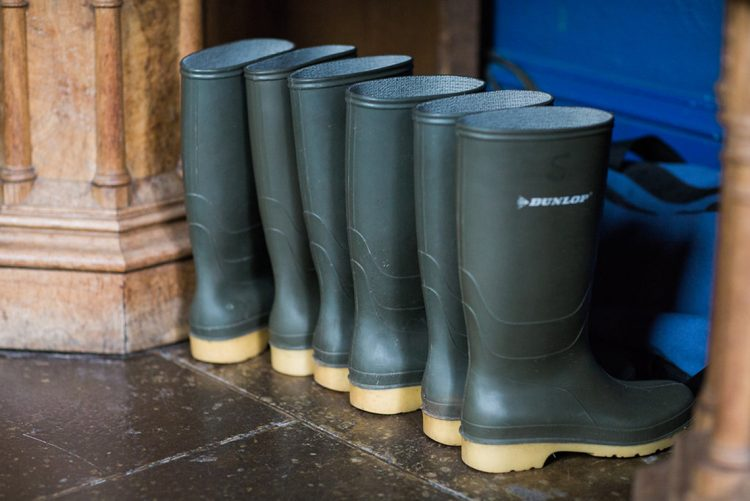 wellingtons boots in a row