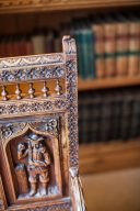 intricate wooden carving details
