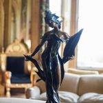 bronze statue in the drawing room