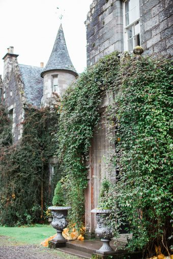 ivy trailing along the hotel and it's beautiful turret