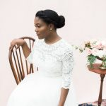 beautiful bridal portrait sat on a chair