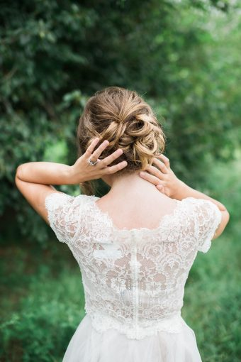 bridesmaid running her fingers over her hair