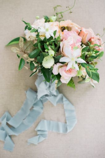 fine art style bouquet with beautiful silk ribbon trailing