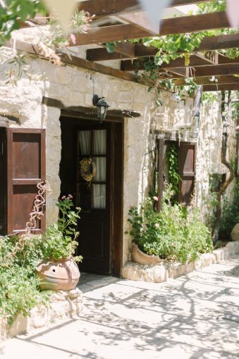 doorway to the house off the small courtyard