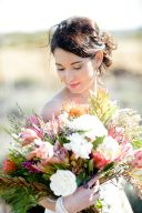 bridal portrait with beautiful large bouquet