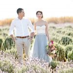 couple stood together surrounded by lavender