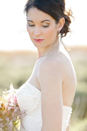 bridal portrait wearing a a beautiful formal gown