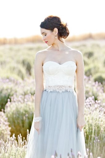 bride walking amongst the lavender