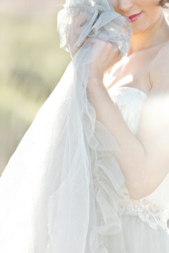 layers of tulle from the Brides skirt