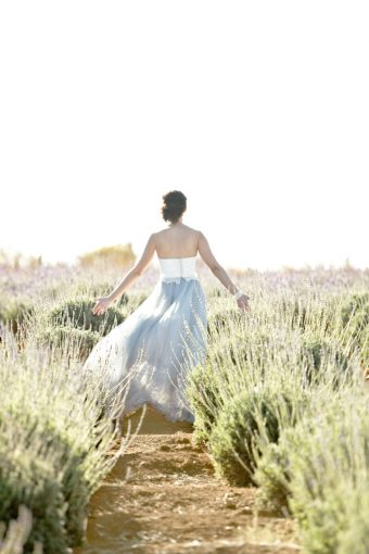 bridal portrait walking through the lavender