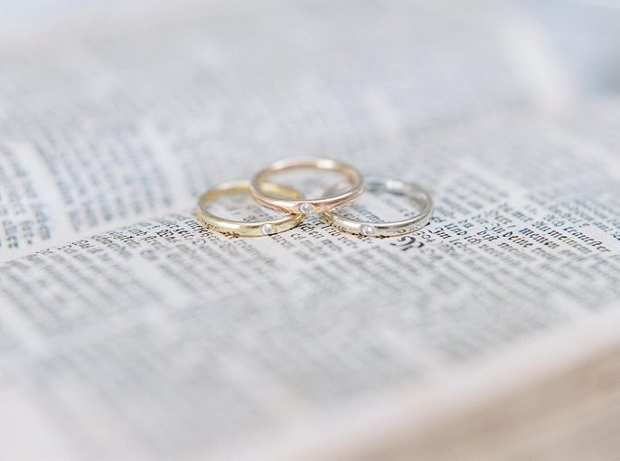 wedding rings displayed on the pages of an old book