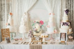 table display of wedding cakes