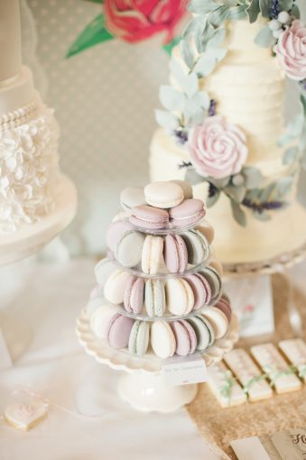 pretty macarons layered to create and alternative wedding cake