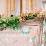 mirror surrounded with flowers and used as seating chart