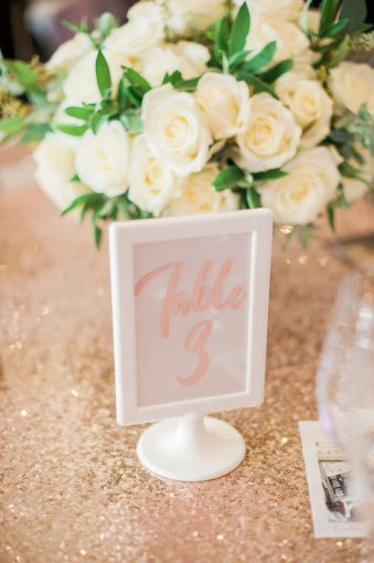 rose gold sequin table with sign