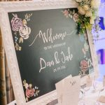 chalboard welcome sign and stationery
