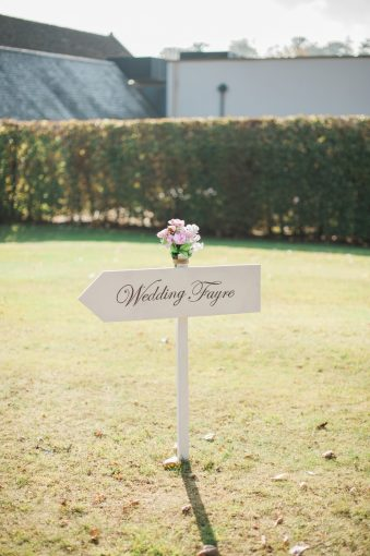 wedding fayre sign on the lawn