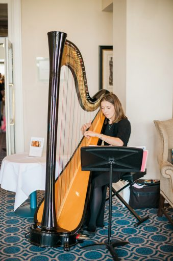 harpist playing the harp to visitors