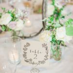 bright table setting with handwritten table sign and florals