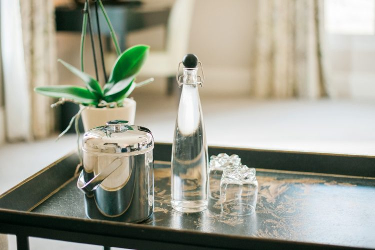 fresh water and glasses on a table