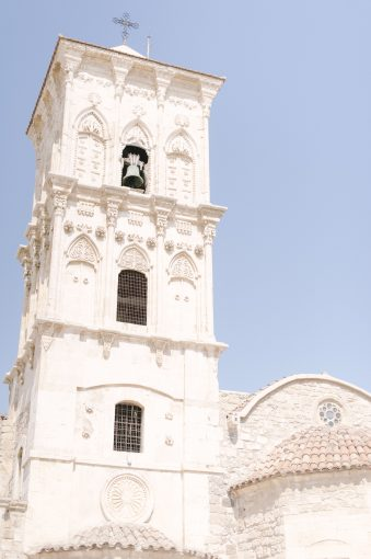 beautiful white sandstone church tower