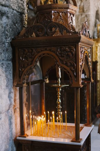 candles lit within the church