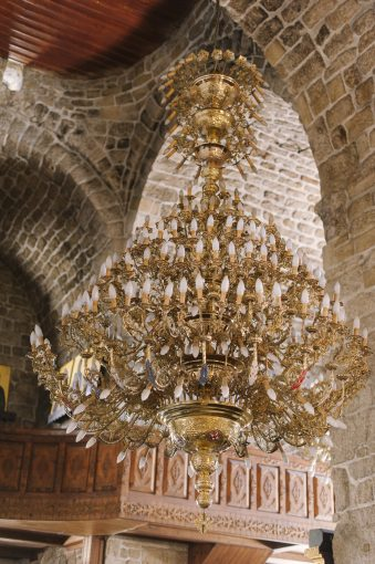 elaborate chandelier inside the church