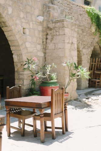 table and chairs in the courtyard