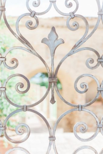 intricate details of metal gate in Italy