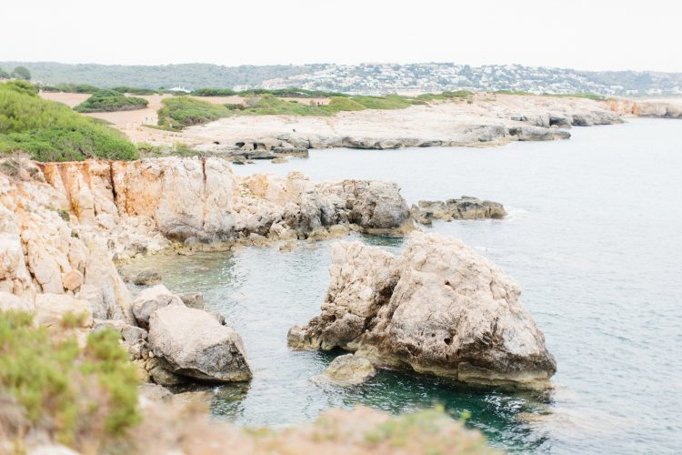 rocky shoreline and ocean in Menorca