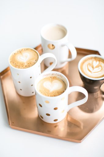 copper hexagon shaped tray with coffee cups