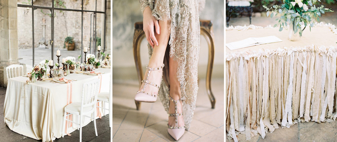 wedding collage moodboard of neutrals and soft pinks