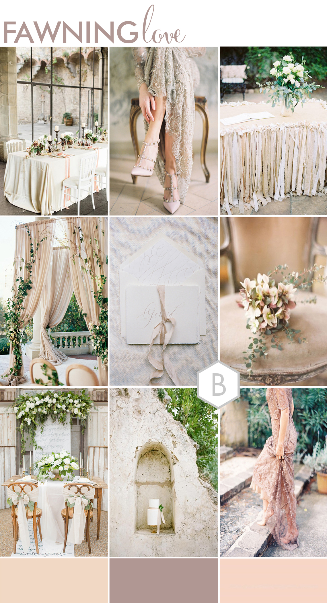 moodboard for sophisticated wedding design with soft nude pinks