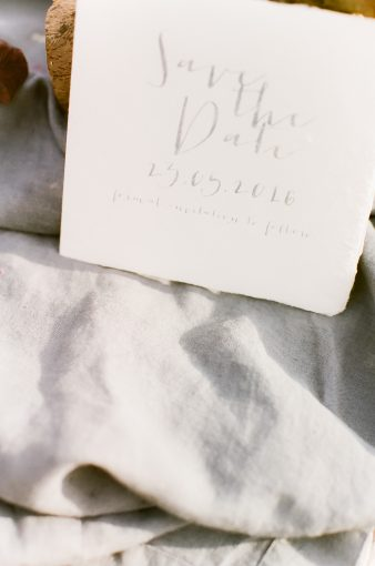 hand torn paper stationery with calligraphy