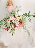 bridal bouquet with foliage and orchids