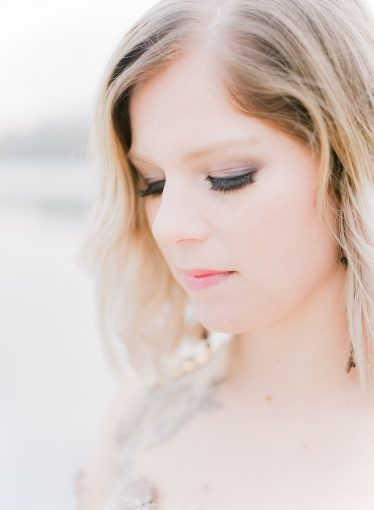 bridal makeup details with slight smokey eye