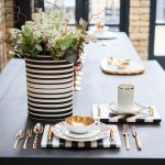 Blue Ribbon monochrome and gold table setting
