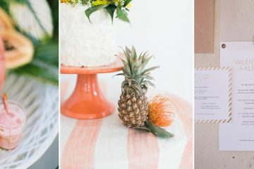 collage of tropical wedding images