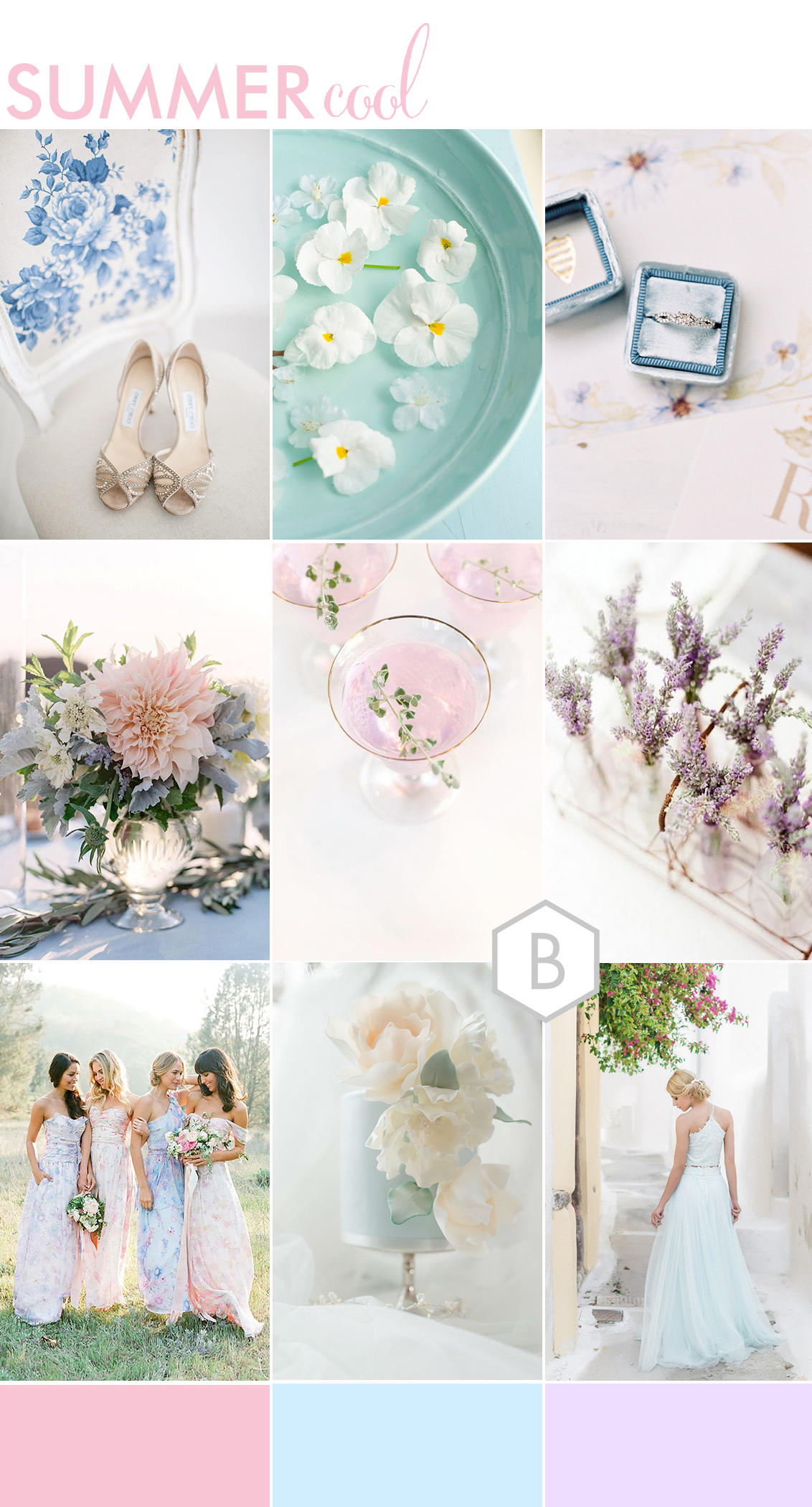 wedding moodboard of images with summer theme