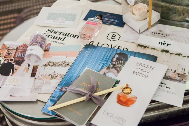 contents of the goody bag from the bloved workshop for brides