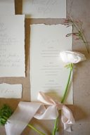 menu wedding stationery design with white rose and ribbon