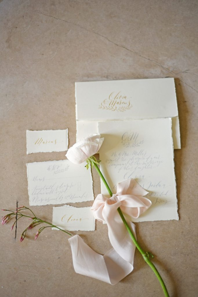 calligraphy wedding stationery suite with rose and silk ribbon