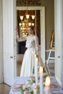 bride wearing two piece wedding gown