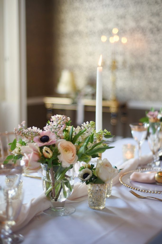 floral designs along the tablescape