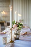 wedding table decor with brass candlesticks