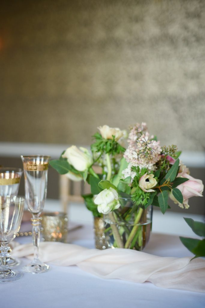 table setting and wedding flowers